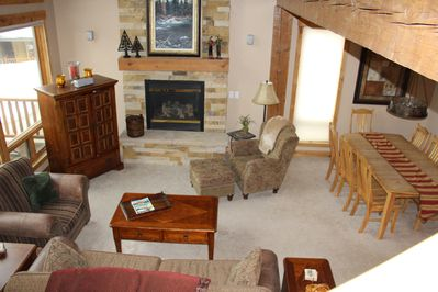 Spacious living area with HiDef  Cable TV and gas fireplace