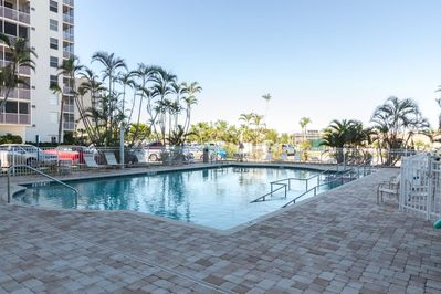 One of two heated community pools where you can take a refreshing swim or sun bathe poolside. This one is located between buildings 3 & 4.