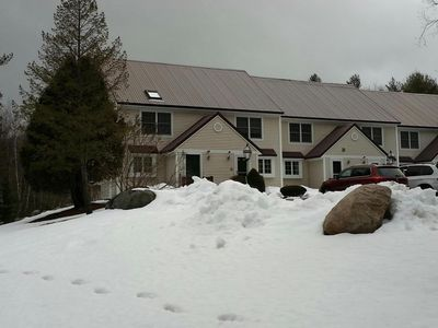 Front View of Condo - Winter.  Parking in front of unit w/ short walk to door.