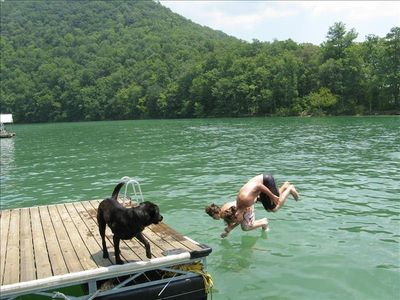 Swimming at the private dock. Water depth is 25 feet deep.