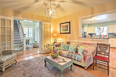 The interior of the home is tastefully decorated and appointed.