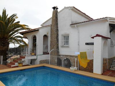 Photo for Villa with heated pool, beaches and town 10 minutes walk, small sea view