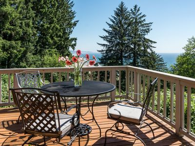 Photo for Sweeping Ocean Views, Private Lot, Large Sunny Deck and Hot Tub! Well-stocked