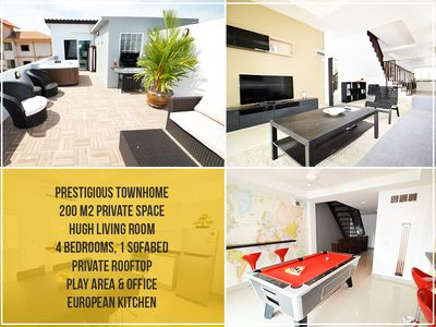 Photo for Private City Townhouse: Modern living Room, 4 Br, Rooftop, Billard, Bbq etc.