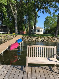 Attached seating for two on dock. Four kayaks in the fleet! Dappled shade & sun.