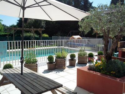 Photo for Les Garrigues - 2 bedrooms - 4 to 6 pers - terrace - air conditioning, pool, jx enfts, bbq