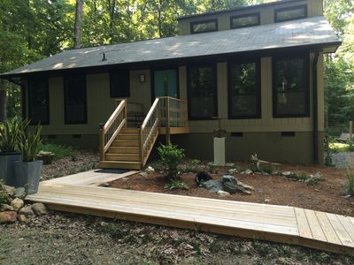 Photo for Modern Cabin In Woods Near Carrboro-WIFI, cable, fenced, AC, new kitchen, parkg