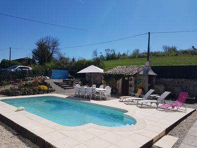 Courtyard swimming pool & barbecue area. Parking beyond garden gate (as in pic)