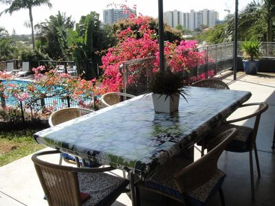Alfresco Dining (seats 8) on shady patio overlooking the pool