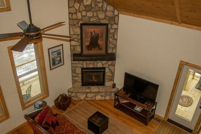 Great room with floor to ceiling gas fireplace.