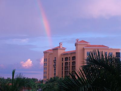 View of Grande Isle III from the harbor entrance. Sunsets and rainbows every day
