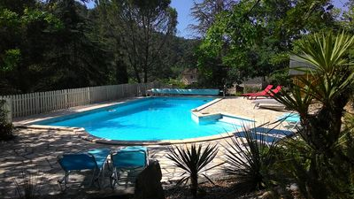 Photo for Pretty house w/ all comforts, large heated pool, 6ac of beautiful grounds, views