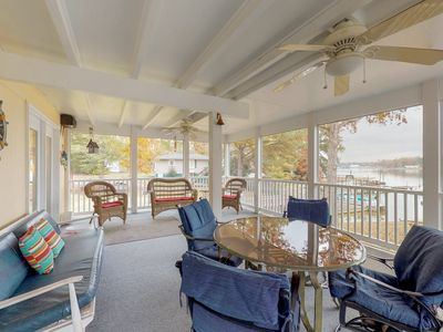Photo for NEW LISTING! Lakefront home with dock, large covered porch, deck, outdoor shower