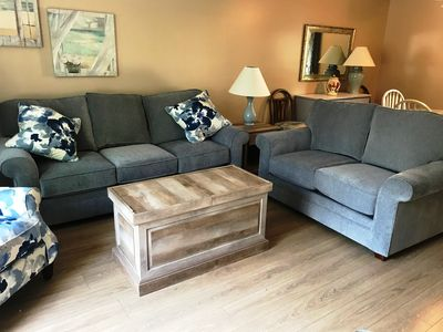 Living Room - Beautiful new love seat and sofa bed.