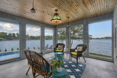Enjoy stunning views from your patio with floor-to-ceiling glass windows!
