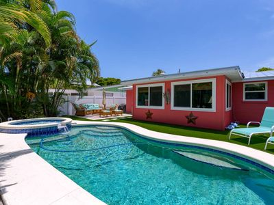 Photo for Private Salt Water Pool & Spa, WALK TO BEACH, near Bean Point, GROUND LEVEL.