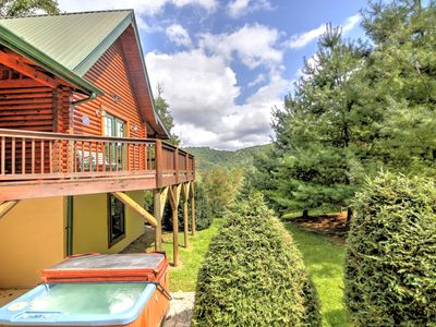 Photo for Private Log Cabin with Hot Tub, Fireplace, Walk to Watauga River, Close to Hiking, Biking