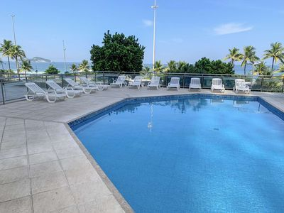 Photo for CaviRio - Flat with pool - beach front - Barra da Tijuca (R)