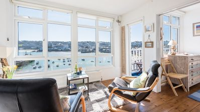 Photo for 6 Sunnyside, penthouse apartment with spectacular sea views on seafront of The Wharf, St Ives. Harbour front position. Free WiFi.
