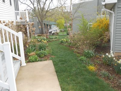 Pathway to unit in early spring