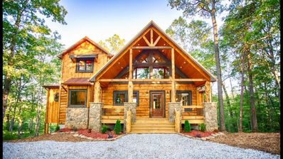 Photo for 4 fireplaces, fire pit, deck! Blue Ridge, GA luxury cabin. Perfect for families!