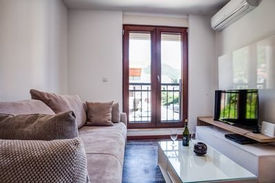 Modern design living room with air conditioning, flat screen TV with cable.