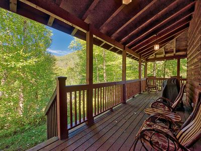 Photo for 2 BD 2.5 BA wLoft Private Cabin Near Parkway Rushing Creek Foos Ball Internet