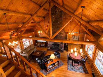 Photo for Secluded Private lakefront Log Cabin w/ Panoramic Mt Views