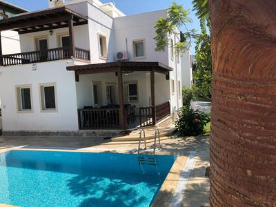 Photo for Palmhouse - private villa private pool, garden and parking. 400m beach free wifi