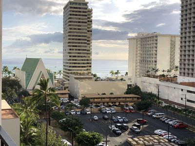10th floor, view of Waikiki from lanai just before sunset