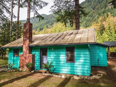 Photo for Boutique Private River Hot Tub Cabin Perched Above the Skykomish River