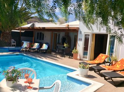 Secluded Pool Terrace with sunshine, shade and private pool.