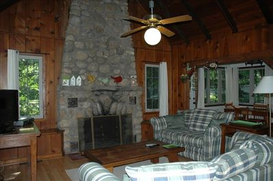 Great room with cathedral ceiling, original stone fireplace