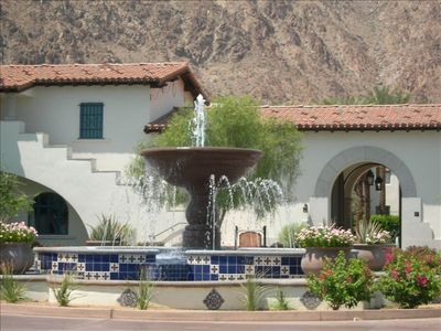 Legacy Villas Fountain with the Santa Rosa Mountains as a spectacular drop back