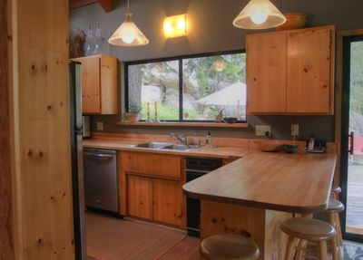 Kitchen with custom cabinets and industrial grill