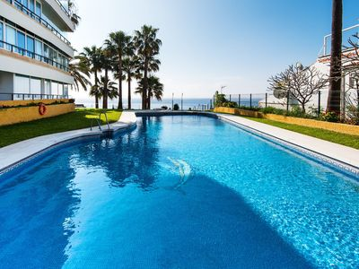 Photo for Air-Conditioned Apartment Directly on the Beach with Fantastic Views, Terrace, Pool & Wi-Fi; Parking Available, 1 Pet Allowed