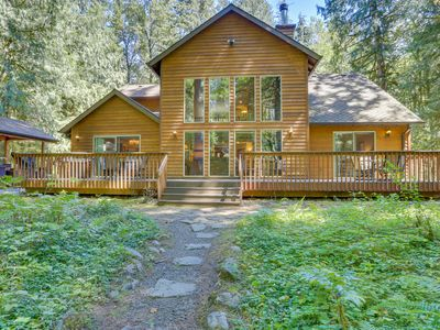 Photo for Classic riverfront home w/ great views, game room, hot tub, & modern cabin feel