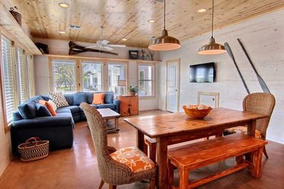 Living is open to dining area