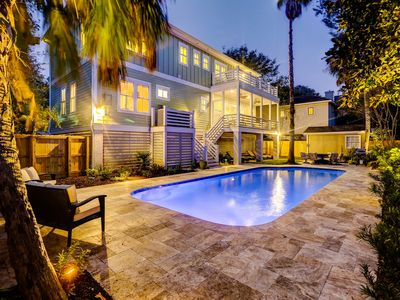 Photo for Gorgeous 4 bedroom home with a private pool and just steps to beach!