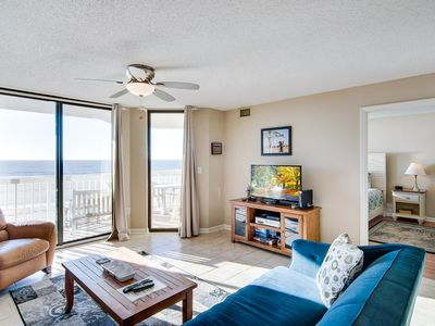 Photo for Oceanfront villa steps from the beach w/private balcony & shared pool