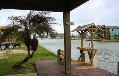 Great outdoor entertaining area at this newly renovated canal home in Holiday Beach.