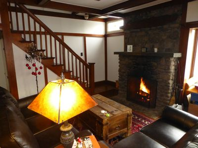 Main Lodge room with large sofa and loveseat in front of the Morso fire insert!
