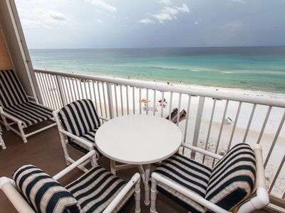 Balcony view - Located beach front on the 7th floor, this unit offers a great view of the blue ocean as well as the most perfect sunsets you'll ever see!
