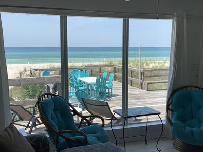 Photo for Ocean Front 5 Bed 3 Bath Sleeps 14! Private Beach House with Large deck and beach access