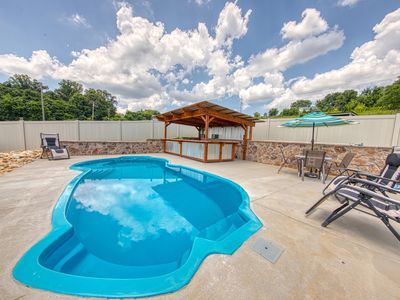 Photo for Cozy cabin w/ a private pool, hot tub, pool table, & gas grill - near the lake!