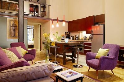 Apartment living area and private kitchen.