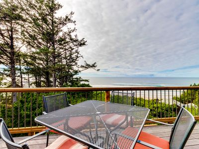 Photo for Charming home w/ hot tub, decks & stellar ocean view - walk to beach (MCA #1377)
