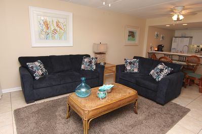 The Living Room Features A Sleeper Sofa
