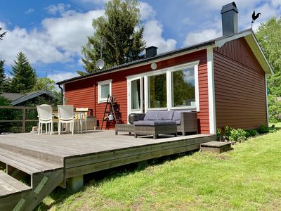 Photo for Idyllic holiday home in Örkelljunga, sun terrace, fireplace, forests and lakes