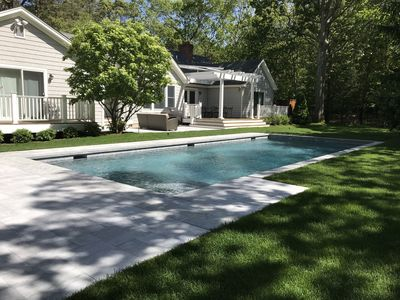 Photo for brand new gunite pool and patio, 1.3 miles from ocean beach and town